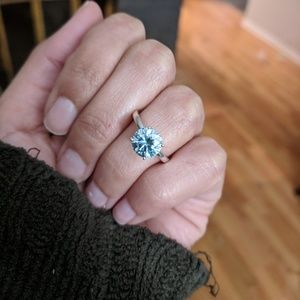 Jewelry - 1.6 ct Steel Blue Moissanite Engagement Ring